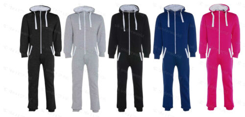 Childrens Girls Boys Kids Plain Onezee All In One Hooded Jumpsuit Age 7-13 Years