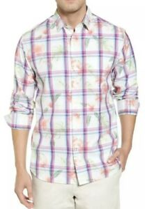 NWT $155 Tommy Bahama Men/'s Vedado Plaid Palm Button Down L//S Shirt Large NEW