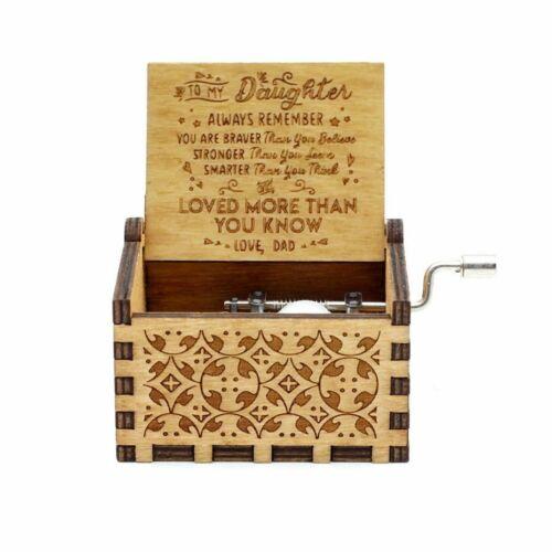 Gift Christmas birthday for grandson granddaughter handcranked music box wooden