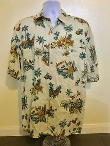 Campia Moda Shirt Khaki Men Size XXL 2XL Rayon Palm Trees Hawaiian Button Down