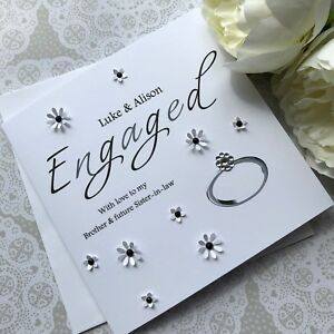 handmade personalised engagement card sister in law brother in law