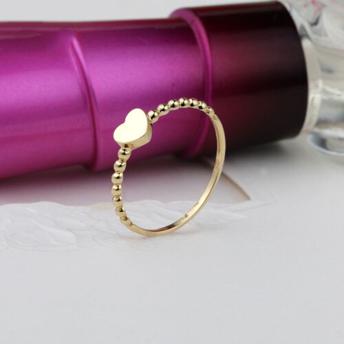 NEW Pure 18K Yellow Gold Ring Heart Twist ring Size 7