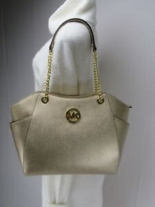 Image Is Loading Nwt Michael Kors Gold Saffiano Leather Jet Set