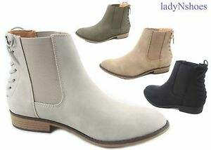 New-Women-039-s-Elastic-Almond-Toe-Slip-On-Low-Heel-Ankle-Booties-Shoes-Size-5-5-11