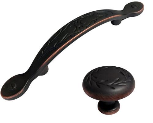 "Dark Oil Rubbed Bronze Leaf Kitchen Cabinet Drawer Knobs and Pulls 3/"""