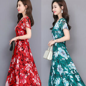 Women-Short-Sleeve-Maxi-Dress-Round-Neck-Casual-Floral-Print-Party-Cocktail-Hot
