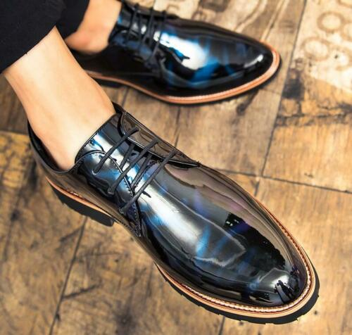 British Style Mens Brogue Wingtip Oxfords Patent Leather Lace up Dress Shoes