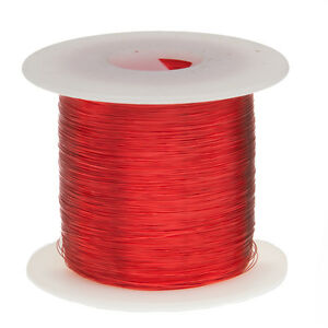 """32 AWG Gauge Enameled Copper Magnet Wire 1.0 lbs 5003' Length 0.0087"""" 155C Red"""