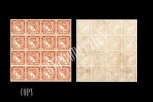 AUSTRIA-1856-RED-MERCURY-6-Kr-NEWSPAPER-STAMP-PANE-OF-16-COPY