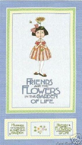 FRIENDS /& FLOWERS BLUEBELL FABRIC PANEL