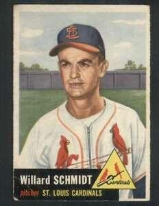 1953-Topps-168-Willard-Schmidt-VG-VGEX-RC-Rookie-Cardinals-80128