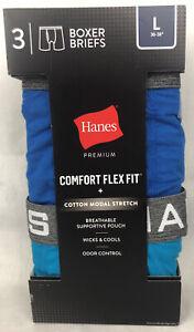 3 PK Hanes Premium Men's Boxer Briefs Comfort Flex Fit + Cotton Modal Stretch Lg