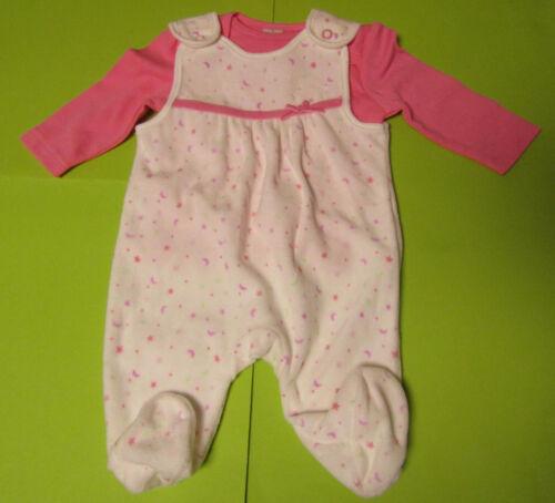 Baby Mädchen Strampler Set cremeweiß rosa 2 teilig Langarmshirt  NEU mit Etikett
