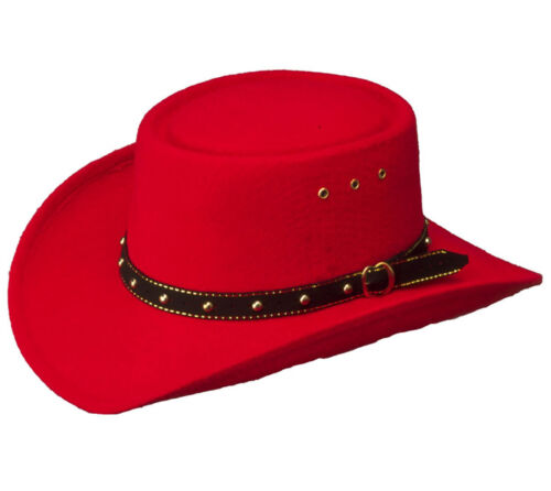 Ladies Red Western Cowboy Gambler Style Hat Line Dancing