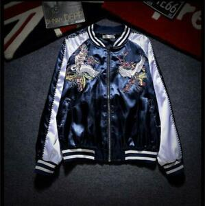 Men-Women-Baseball-Jacket-Satin-Embroidery-Crane-Bird-Souvenir-Bomber-Coat-size