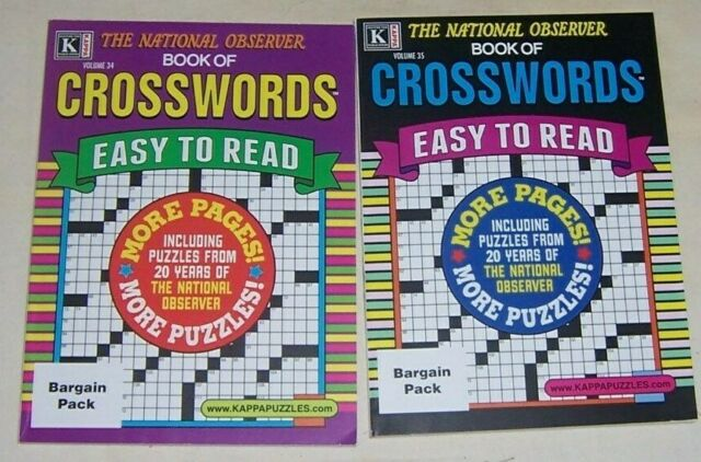 Lot Of 2 National Observer Easy To Read Crossword Puzzles