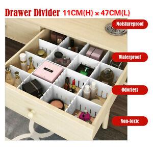 12×Adjustable DIY Clapboard Drawer Cabinet Divider Partition Storage Organiser