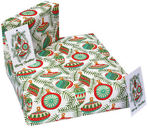 1 sheet bauble luxury Christmas wrapping paper and tag