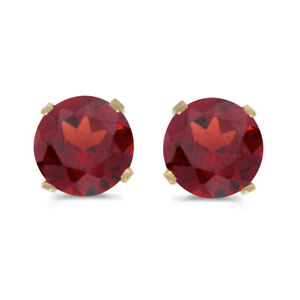 5-mm-Natural-Round-Garnet-Stud-Earrings-Set-in-14k-Yellow-Gold