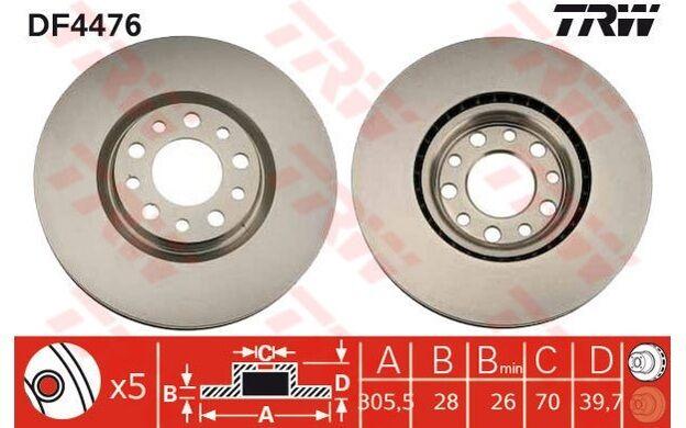 TRW Juego de 2 discos freno Antes 305mm ventilado ALFA ROMEO 159 DF4476