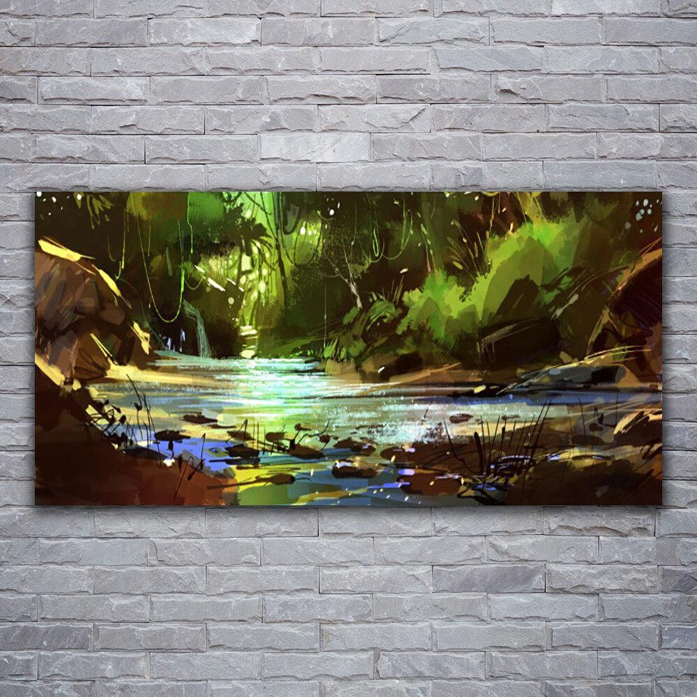 Verre Imprimer Wall Art Image 120x60 Image Forêt Lac Pierres Nature