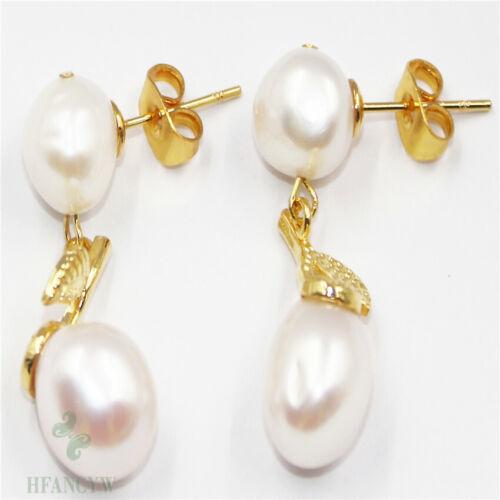 11-12mm White Baroque Pearl Earrings 18k Ear Stud Party Classic TwoPin Flawless
