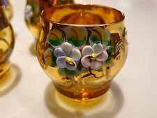 Vtg 5 MURANO Hand Made Amber Glass/Goldplate Shot Cordial Glasses 3d Flowers IT