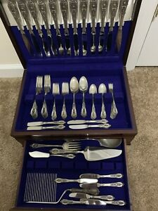 Vintage Rosepoint by Wallace Sterling Silver 90 Piece Silverware ...
