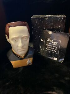 Vintage-Star-Trek-Data-3D-Collectible-Ceramic-Figural-Mug-Applause-1994-New