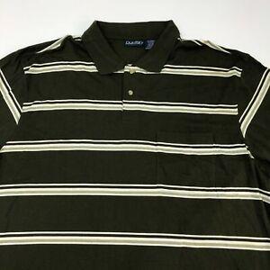 Puritan Polo Shirt Men's Size 2XLT Short Sleeve Green Tan White Striped