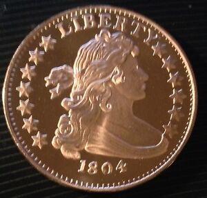 1 Oz Copper Round 1804 Bust Silver Dollar Design Ebay