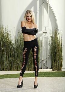 Black-Opaque-Shredded-Front-Sexy-Spandex-Leggings-One-Size-HOT-by-Shirley-90244