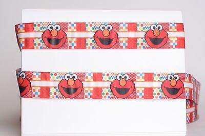 "7//8/"" 2 YARDS Sesame Street Grosgrain Ribbon Hair Bows Crafts Cards Big Bird Elmo"