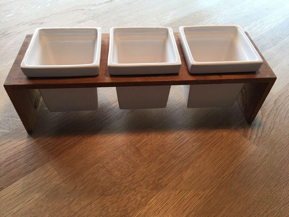Porcelæn, Plint i teak træ med 3 krukker, Trip Trap