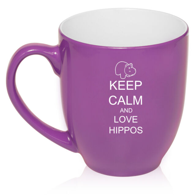 16oz Bistro Mug Ceramic Coffee Tea Glass Cup Keep Calm and Love Hippos