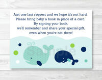 Little Blue Whale Nautical Printable Baby Shower Book Request Cards