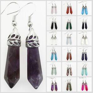 Amethyst-Black-Onyx-Crystal-Gemstones-Hexagonal-Silver-Stud-Dangle-Earrings-New