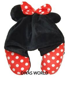 Disney Minnie Mouse Hooded Travel Pillow Neck Support Soft Cushion Primark New
