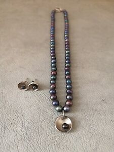 Artisan-Rosie-Brown-Silver-Pearl-Boxed-Necklace-Earrings-BNIB-Mother-039-s-Day-Gift