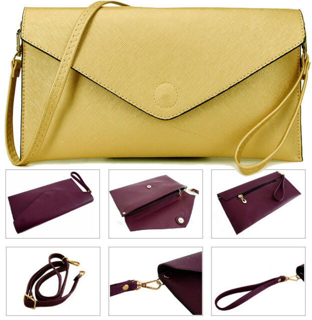 82ff850c1c23 Metallic Gold Womens Over Size Clutch Bag Ladies Large Envelope Purse  Evening