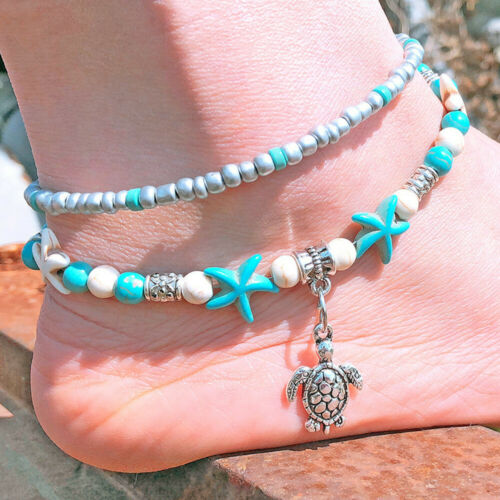 Retro Boho 1 Shell Perles chaîne étoile de mer Sea Turtle Bracelet Bracelet Beach Jewelry