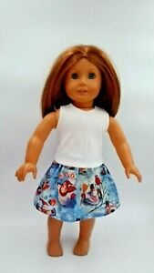 Outfit-fits-American-Girl-dolls-18-034-Doll-Clothes-Snowman-skirt-White-Tank-Top