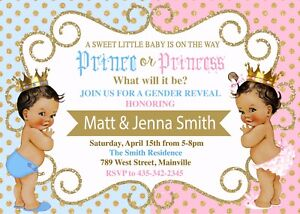 Prince Princess Gender Reveal Invitation Boy or Girl Gender Reveal