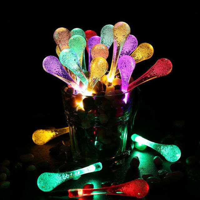 30 LED Solar Water Drop Christmas Fairy String Light Lamp Wedding Party Decor