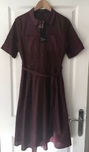 Debenhams-Betty-Jackson-Plum-Shirt-Embroidery-Dress-Size-10-BNWT-85
