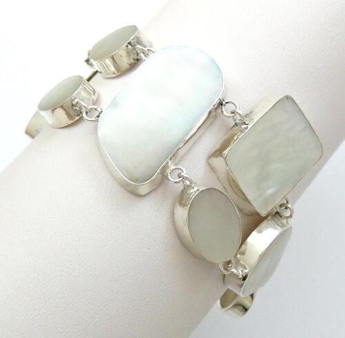 Natural Mother of Pearl Shell Argent Sterling 925 Bracelet Femmes Bijoux SE022