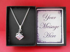 RHINESTONE DICE PENDANT & SILVER P NECKLACE GIFT BOXED & PERSONALISED MESSAGE