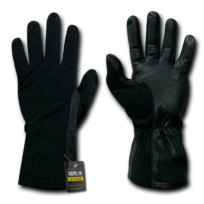 Rapid Dom Black 100% Dupont Nomex Heat, Flame, Flash Protection Pilot Gloves