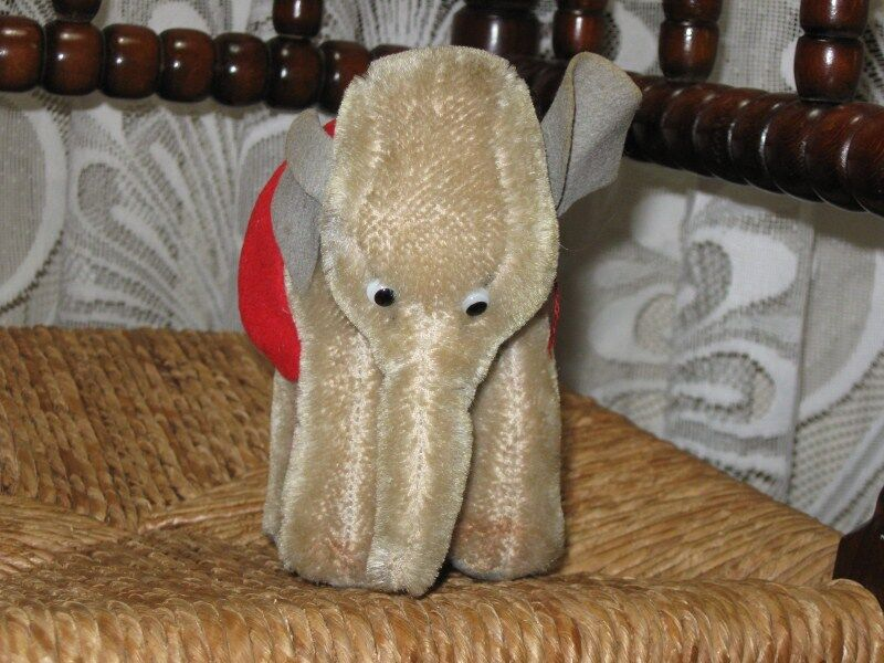 Hermann Germany Old Antique Mohair Elephant 13 CM NO ID