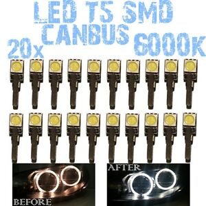 N-20-LED-T5-6000K-CANBUS-5050-DEPO-FK-Angel-Eyes-Headlights-BMW-series-5-E34-1D3